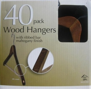 40 Pack Wood Hangerswith Ribbed Bar Mahagony Finish