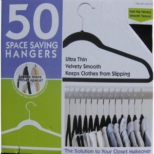 50 Ultra Thin Velvety Smooth Space Saving Hangers (Black)