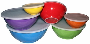 6-pc melamine mixing bowls with lids and non-slip bottom