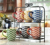 7 piece stoneware Mug Set with iron Stand
