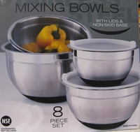 8 Piece Mixing Bowl Set With Non Slip Bottom and lid