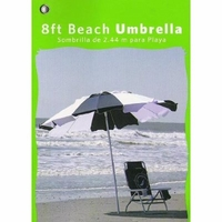 8Ft Beach Umbrella Blue and White
