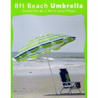 8Ft Multi-Color Beach Umbrella