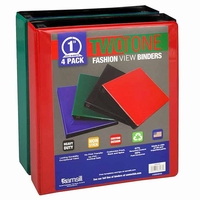 "Basic Color Samsill View Binders, 1"", 4 Pk."