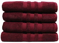 """Bath Towel 100% Cotton Red or Purple 4 Pack - 30"""" x 58"""""""