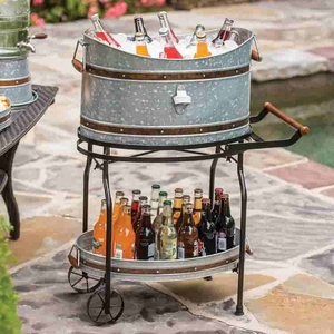 Beverage Tub on Wheel Stand with serving tray