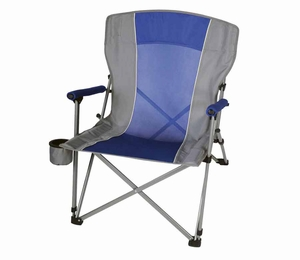 Blue and Gray Folding Camp Chair