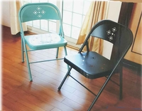 Blue or Black perforated Folding Metal Chair