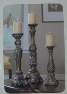 Candle Holders - Set Of Three Candle Pillars 130411H