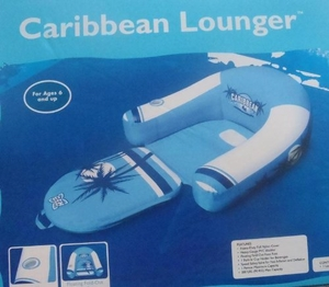 Caribbean Lounger with Fold Out Footrest and Cup Holder - Blue