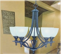 Chandelier 5 Light W Bronze Finish