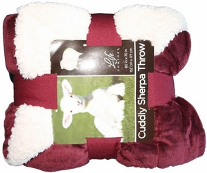 Cuddly Sherpa Reversible Throw Blanket - Burgundy