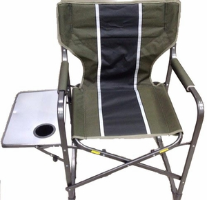 Directors Chair with drink holder and Side Table - Green - Blue