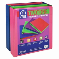 "Fashionable Two-Tone View Binder, 1"", 4 Pack, Assortmented"