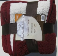 Feather Soft Marshmallow Reversible Oversized Throw 60 X 70 Inches - Burgandy
