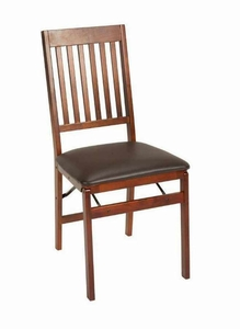 Folding Hard Wood Chair With Mission Style Back