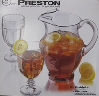 glass water pitcher - 9 pc glass pitcher & goblet set