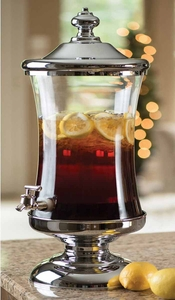 Glass with Chrome Beverage Dispenser - Shannon Crystal
