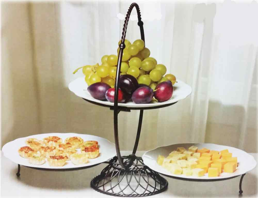 Pleasing Gourmet 3 Tier Wire Buffet Server With 3 Plates Beutiful Home Inspiration Cosmmahrainfo