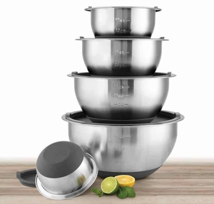 Gray Lid 10 Piece Stainless Steel Mixing Bowl Set