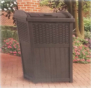 Hideaway wicker trash Bin