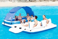 Inflatable floating island with Removable Sunshade