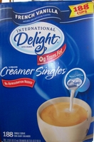 International Delight Coffee Creamer Singles 188 Cups of French Vanill