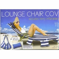 Lounge Chair Cover with pockets & pillow - Blue white stripes