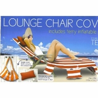 Lounge Chair Cover with pockets & pillow - Red white stripes