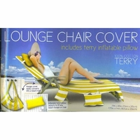 Lounge Chair Cover with pockets & pillow - Yellow white stripes