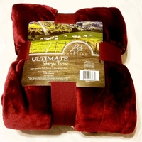 Maroon color ultimate Sherpa Blanket Throw