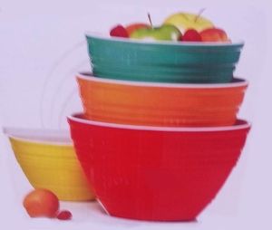 Melamine Bowl set with lid multi color 4 piece set