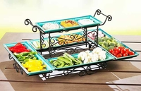 Multi-level Buffet Server with Durable Stoneware serving pieces