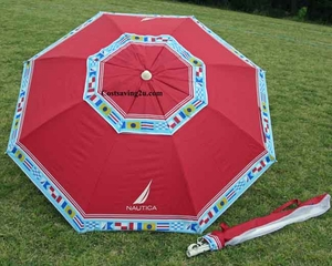 Nautica Beach Umbrella UPF 50+ Red