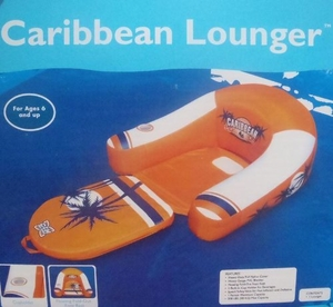 Orange Caribbean Lounger with Footrest and Cup Holder