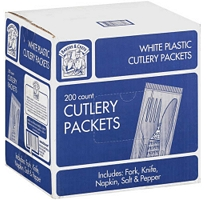Plastic Cutlery Packets - 200ct / Bakers & Chefs