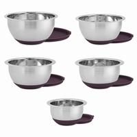 Purple Lid Wolfgang Puck 10 Piece Stainless Steel Mixing Bowl Set