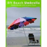 Rainbow 8 Ft Beach Umbrella with Tellon Coated