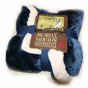Royal Blue Sherpa Reversible Throw Blanket