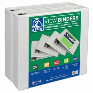 "Samsill durable 2"" View Binder - White - 4 pk."