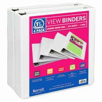 "Samsill White View Binder - 1.5"" - 4 pk."