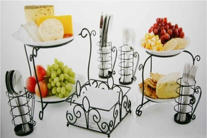 Seven Piece Wrought Iron Buffet Caddy Organize Cutlery and Napkins
