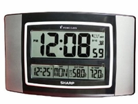 Sharp SPC900GM Stainless Steel & Black Atomic Wall Clock with Outdoor Temperature