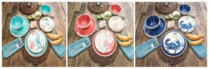 Shellfish Print 18 Piece Melamine Dinnerware Set
