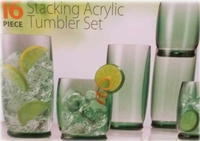 Stacking Acrylic Tumbler Set 16 Piece