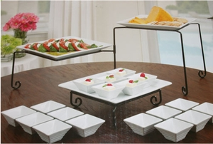 Swivel Buffet Server 3 Tier With 18 piece Stoneware Taster Set