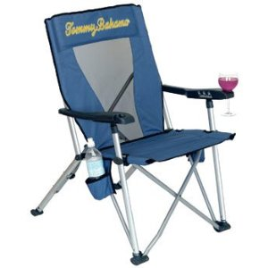 Tommy Bahama Reclining Folding Beach And Camping Chair - Light Blue