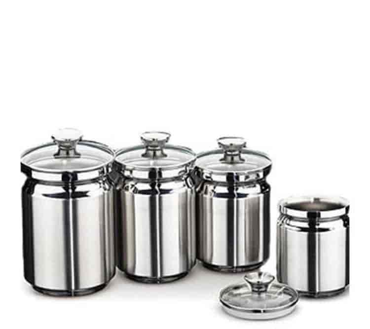 Tramontina 4 Peice Stainless Steel Canisters With Glass Lids