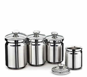 Tramontina 4 Piece Stainless Steel Canister Set with Glass Lid