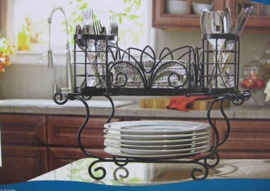 Two Piece Wrought Iron Buffet Caddy Organize Cutlery and Napkins